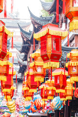 Shanghai,China - Feb 13,2017:Lantern Festival in the Chinese New Year,beautiful lantern on traditional buildings,Yuyuan Garden day view.
