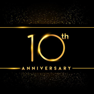 Celebrating of 10 years anniversary, logotype golden colored isolated on black background and confetti, vector design for greeting card and invitation card