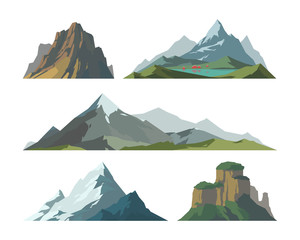 Mountain mature silhouette element outdoor icon snow ice tops and decorative isolated camping landscape travel climbing or hiking geology vector illustration.