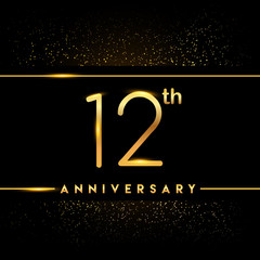 Celebrating of 12 years anniversary, logotype golden colored isolated on black background and confetti, vector design for greeting card and invitation card