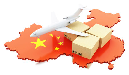 3d China map with cardboard boxes and airplane