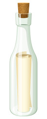 Vector illustration of a rolled message inside a glass bottle, plugged with a cork.
