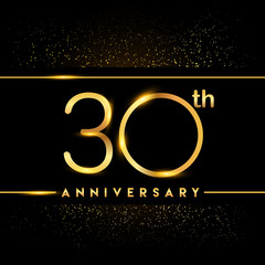 Celebrating of 30 years anniversary, logotype golden colored isolated on black background and confetti, vector design for greeting card and invitation card