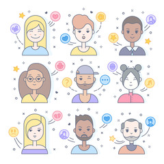 Linear Flat people faces vector icon set, illustrations set.