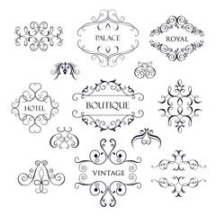 Set luxury, simple and elegant monogram
