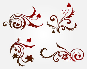 Set of four floral design elements and page decoration. Vector illustration
