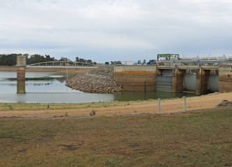 BARINGHUP, VICTORIA, AUSTRALIA - cairn Curran Reservoir's intake tower, bridge and primary storage spillway