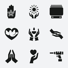 Set of 9 hand filled icons
