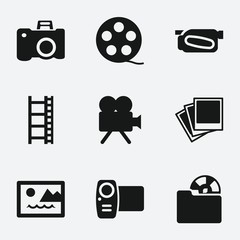 Set of 9 picture filled icons