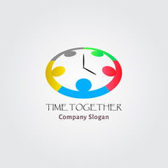 Teamwork business people logo vector with time
