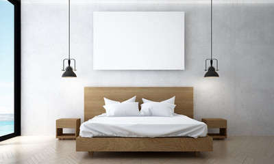 The minimal bedroom design and picture frame