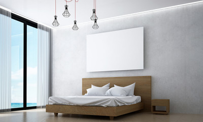 minimal bedroom design and picture frame and sea view