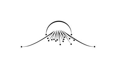 Mountain outlines logo. Points. Sunset. Volcano. Fuji. Fototapete
