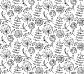 Black and white floral vector seamless pattern with flower, leaf, branch. Natural endless background.