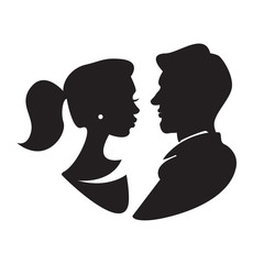 Man and woman face profile, male and female silhouette. Vector illustration.
