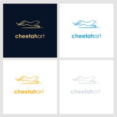 cheetah line company logo. wild animal logo with minimalist concept