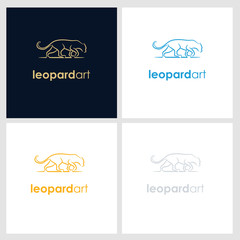 leopard line company logo. wild animal logo with minimalist concept