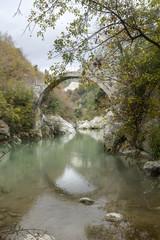 historic Annibale bridge on titerno river matese park