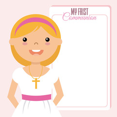 My first communion girl. space for text.