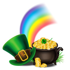 St.Patrick's Day symbols-Pot Of Gold and leprechaun hat. St.Patrick's Day background, Magical Treasure. Vector illustration.