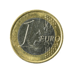 1 euro coin obverse isolated on white background