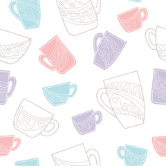 Cup doodle graphic color seamless pattern illustration vector