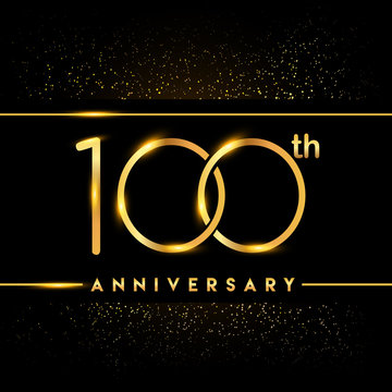 Celebrating of 100 years anniversary, logotype golden colored isolated on black background and confetti, vector design for greeting card and invitation card