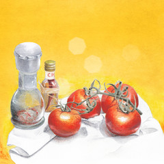 Watercolor background with food still life