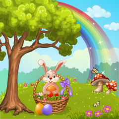 Cute Easter greeting card with bunny Easter ,eggs and flowers