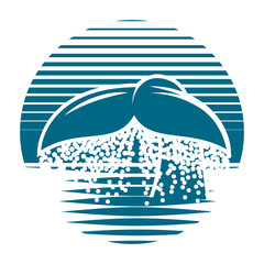 monochrome blue vector template for logo with whale tail
