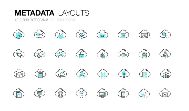 Metadata trendy modern thin line icons set development  analysis and server operations. Original pack with linear pictogram collection of future for web design in slim style.
