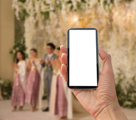 smart phone take photo wedding