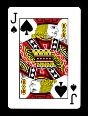 Jack of spades playing card, isolated on black background.