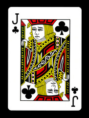 Jack of clubs playing card, isolated on black background.