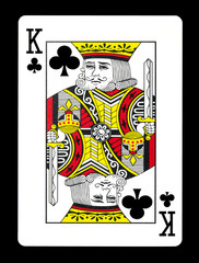 King of clubs playing card, isolated on black background.