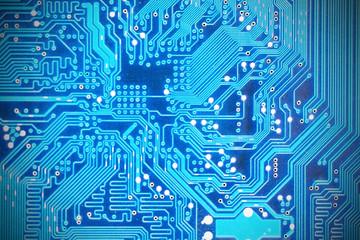 Close-up shot of computer motherboard detail