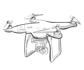 aerial vehicle quadrocopter. Air drone hovering. Drone sketch