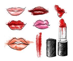 Cosmetics collection. fashion set. Hand drawn graphic lips lipstick