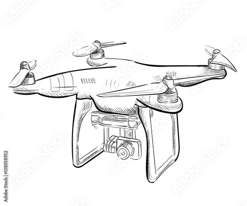Aerial Vehicle Quadrocopter Air Drone Hovering Drone Sketch Stock