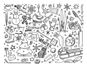 Set of Vector Winter or Christmas Icons Drawings Doodles