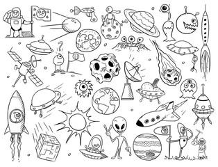 Set of Cartoon Vector Alien Space Elements