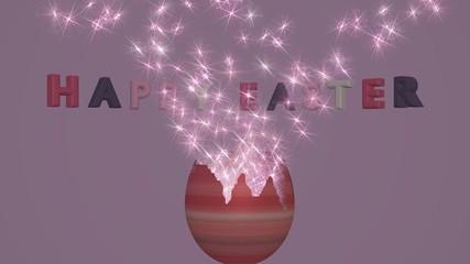 3d-Illustration, Osterei mit Partikeleffekt und text