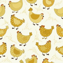 Seamless  pattern with yellow chickens cartoon