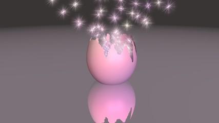3d-Illustration, Osterei auf spiegelnder Fläche mit Partikeleffekt
