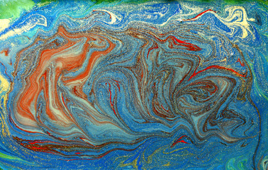 Colorful liquid texture. Hand drawn marbling background. Ink marble abstract pattern