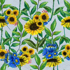 Seamless pattern with sunflowers and wildflowers