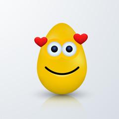 Vector modern easter emoji egg with shadow.