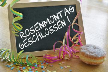 Tafel mit Rosenmontag geschlossen