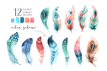 Hand drawn watercolor paintings vibrant feather set. Boho style wings. illustration isolated on white. Bird fly design for T-shirt, invitation, wedding card. Wall mural