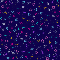 Abstrait géométrique bleu foncé, style memphis, couleurs néon vives, motif vectoriel continu. Différentes formes géométriques en tessellation